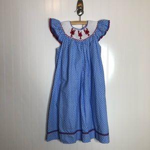[Mom & Me] Blue Check Smocked Bishop Dress Lobster